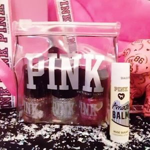 Nwt.VS PINK Holiday 3Pc Sparkly Nails,1LipBalm